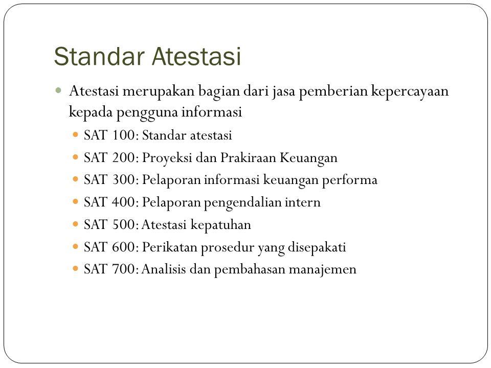 Standar Atestasi Atestasi merupakan bagian dari jasa pemberian kepercayaan kepada pengguna informasi.