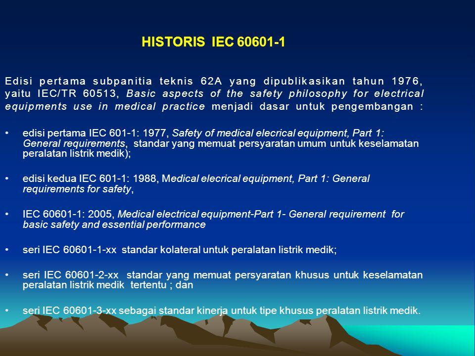 HISTORIS IEC 60601-1 Edisi pertama subpanitia teknis 62A yang dipublikasikan tahun 1976,