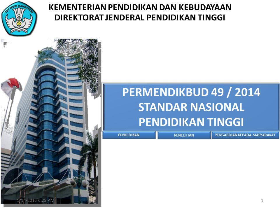 PERMENDIKBUD 49 / 2014 STANDAR NASIONAL PENDIDIKAN TINGGI