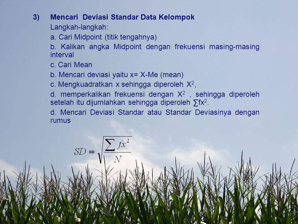 Mencari Deviasi Standar Data Kelompok