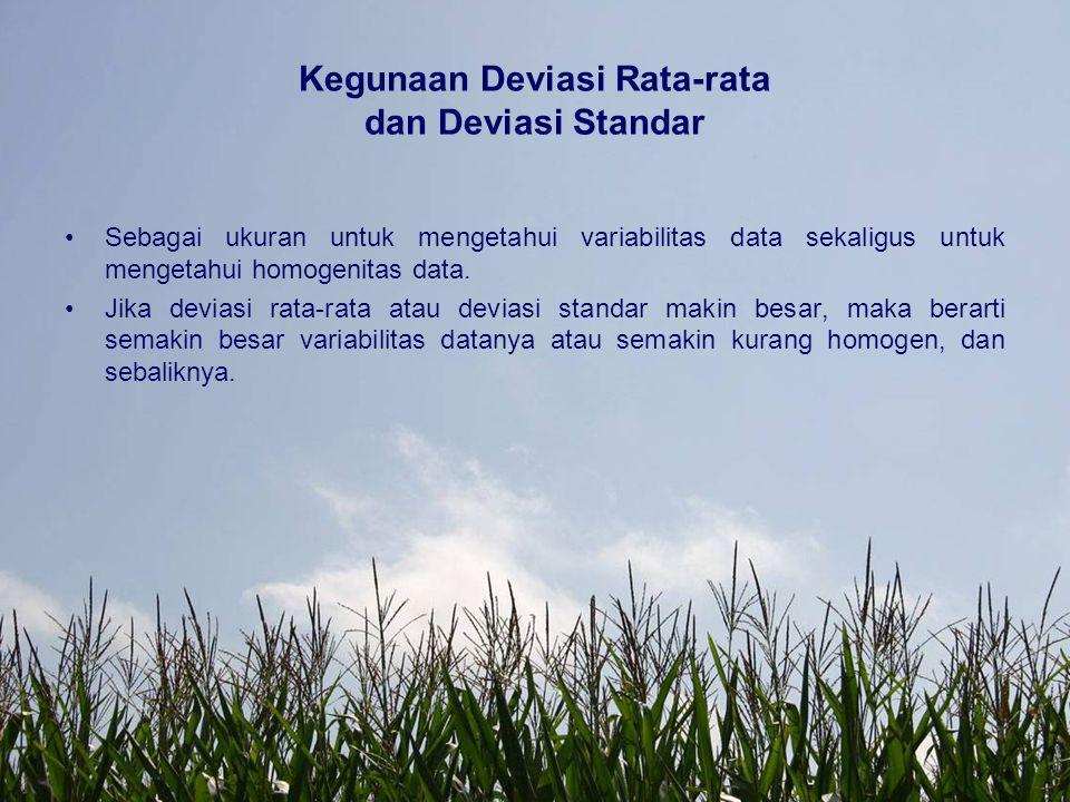 Kegunaan Deviasi Rata-rata dan Deviasi Standar