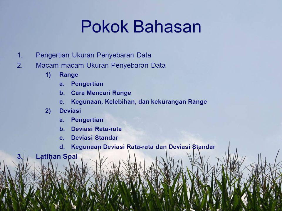 Pokok Bahasan Pengertian Ukuran Penyebaran Data