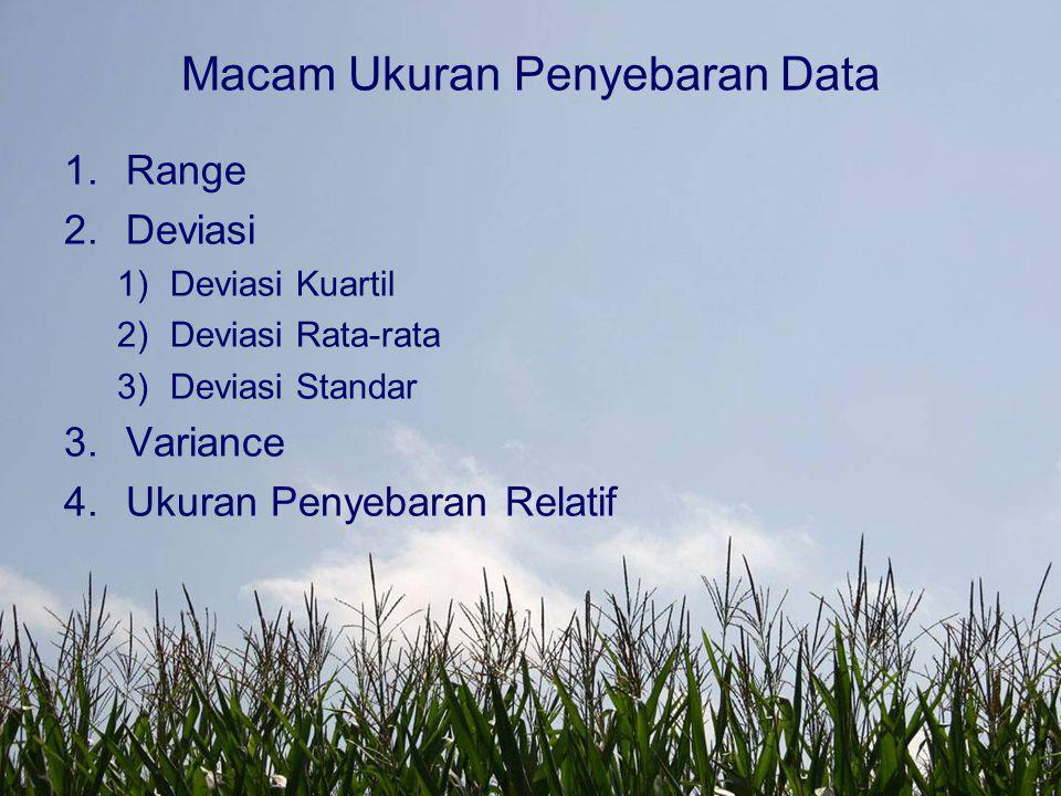 Macam Ukuran Penyebaran Data