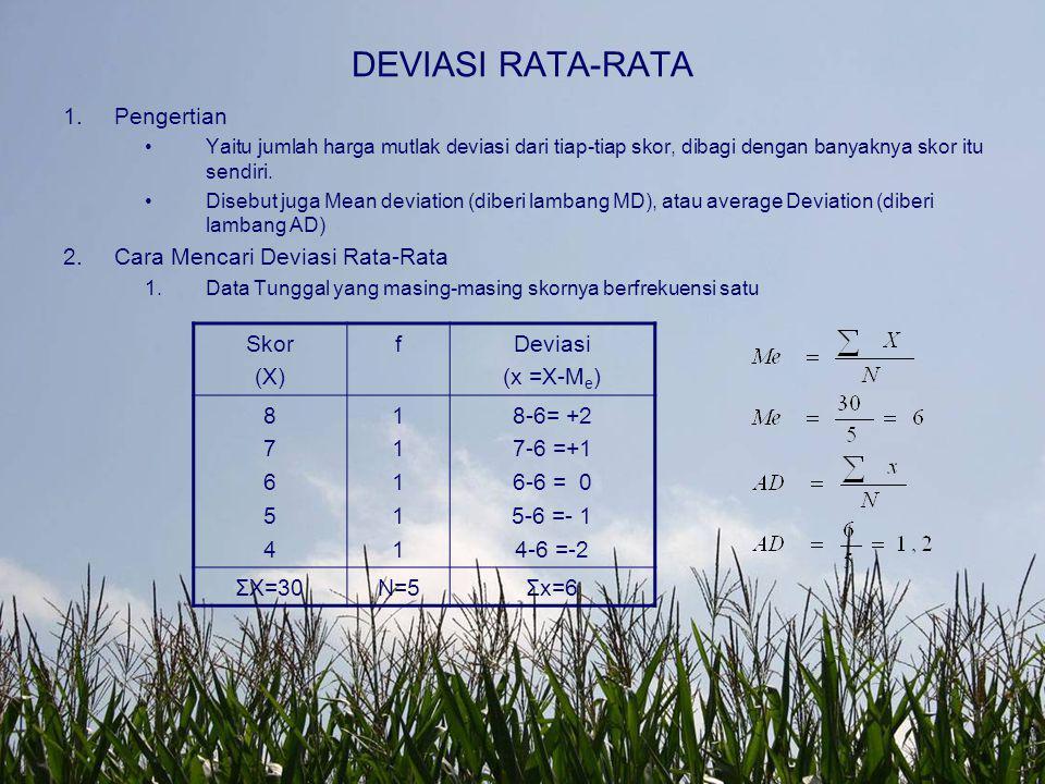 DEVIASI RATA-RATA Pengertian Cara Mencari Deviasi Rata-Rata Skor (X) f