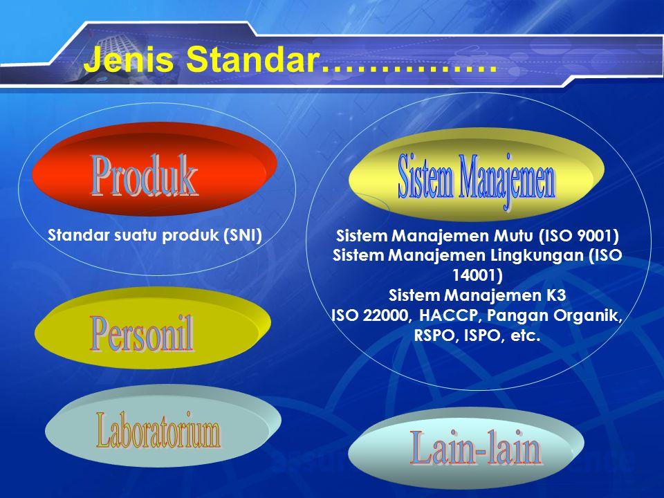 Jenis Standar…………… Produk Sistem Manajemen Personil Laboratorium
