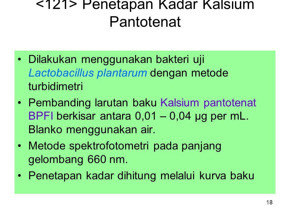 <121> Penetapan Kadar Kalsium Pantotenat