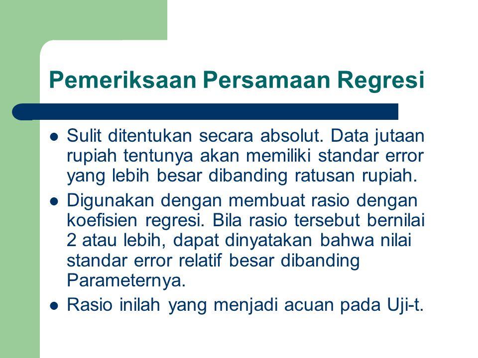 Pemeriksaan Persamaan Regresi