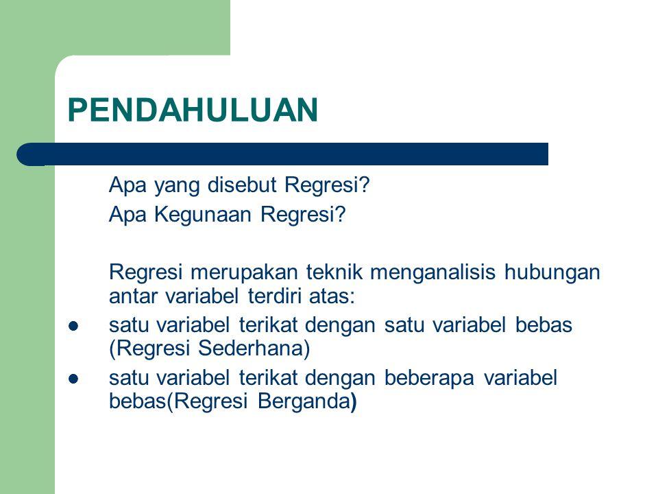 PENDAHULUAN Apa yang disebut Regresi Apa Kegunaan Regresi