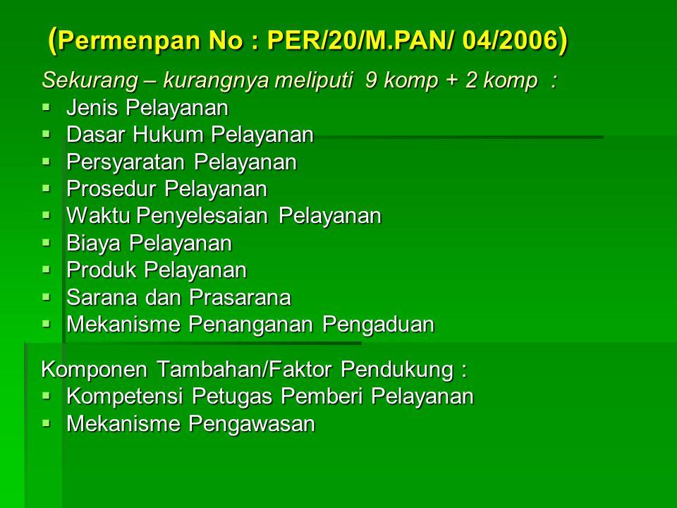 (Permenpan No : PER/20/M.PAN/ 04/2006)