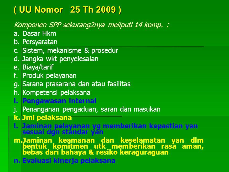 ( UU Nomor 25 Th 2009 ) Komponen SPP sekurang2nya meliputi 14 komp. :