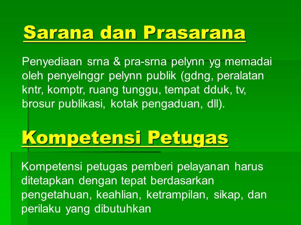 Sarana dan Prasarana Kompetensi Petugas