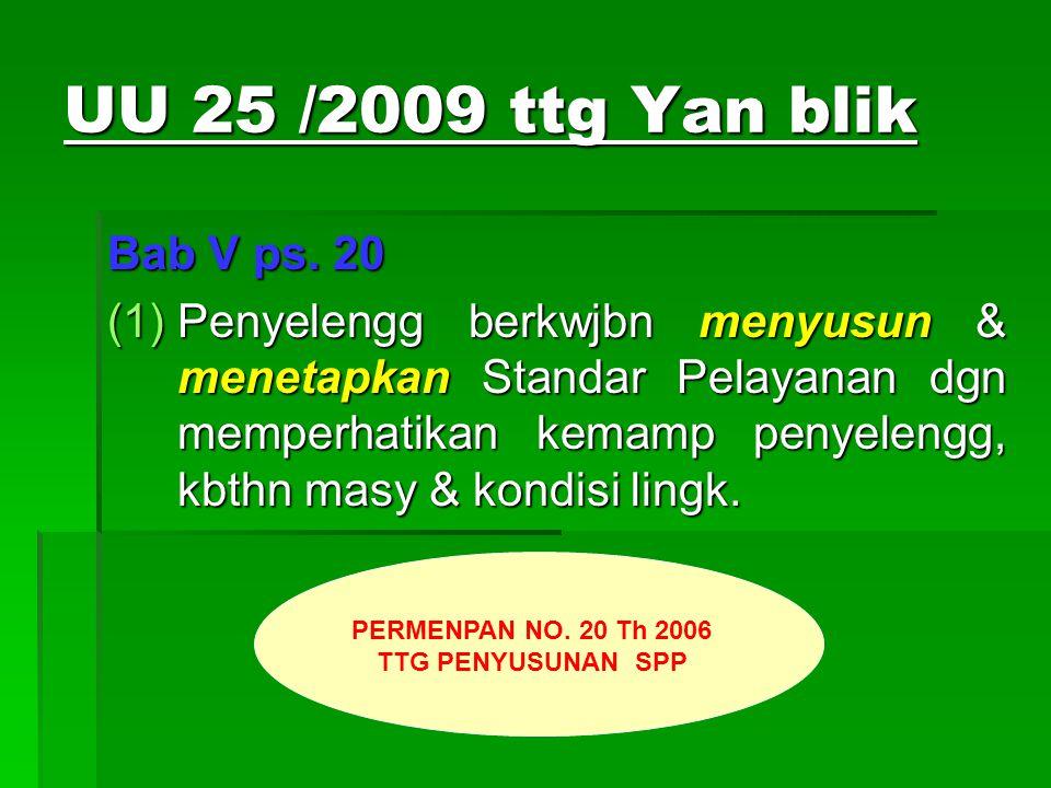 UU 25 /2009 ttg Yan blik Bab V ps. 20.