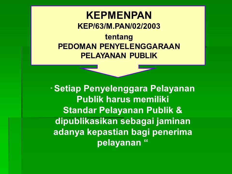 KEPMENPAN Standar Pelayanan Publik & dipublikasikan sebagai jaminan