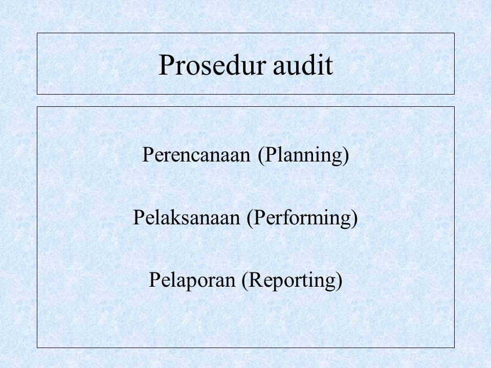 Prosedur audit Perencanaan (Planning) Pelaksanaan (Performing)