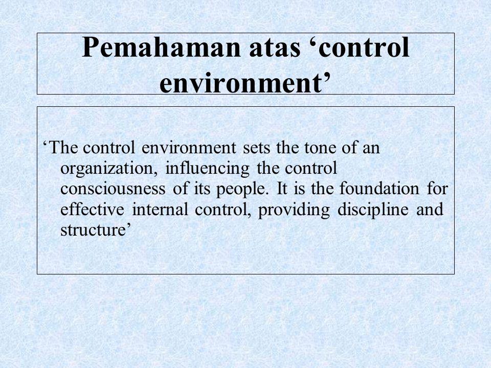 Pemahaman atas 'control environment'