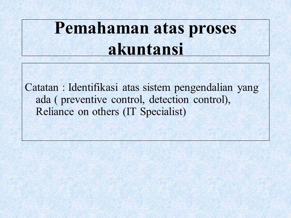 Pemahaman atas proses akuntansi