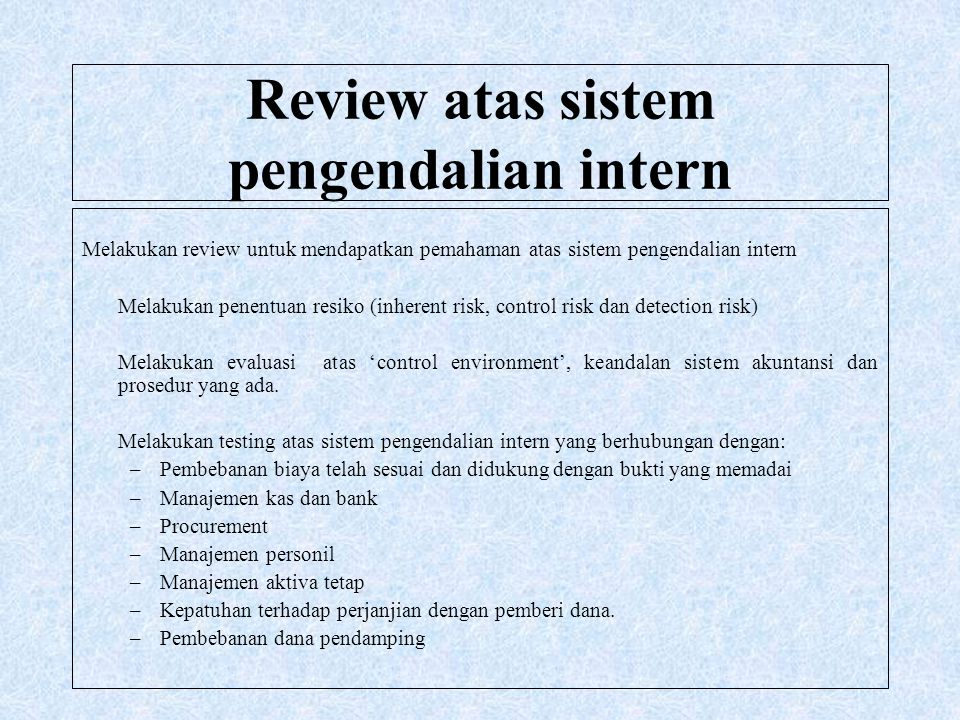 Review atas sistem pengendalian intern