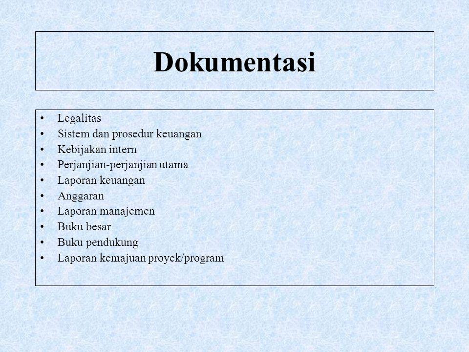 Dokumentasi Legalitas Sistem dan prosedur keuangan Kebijakan intern