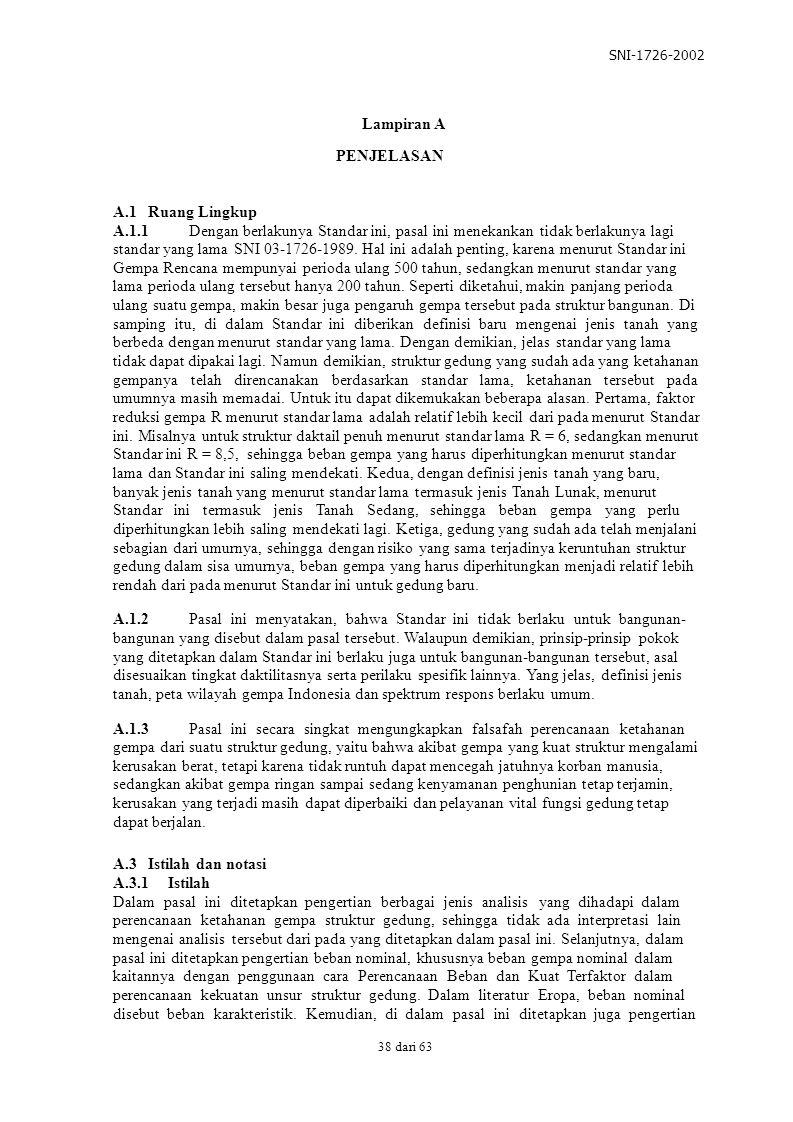 SNI-1726-2002 PENJELASAN A.1 Ruang Lingkup A.1.1