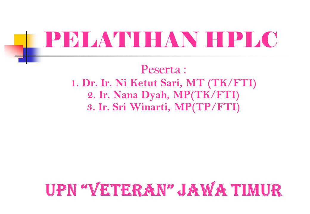 PELATIHAN HPLC UPN Veteran Jawa Timur Peserta :