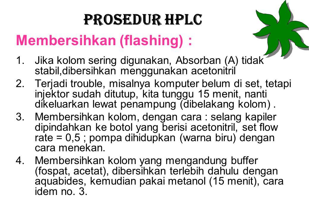 Prosedur HPLC Membersihkan (flashing) :