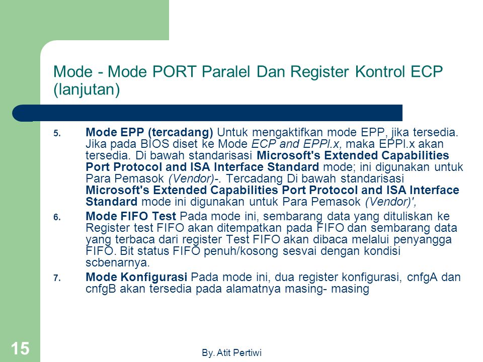 Mode - Mode PORT Paralel Dan Register Kontrol ECP (lanjutan)