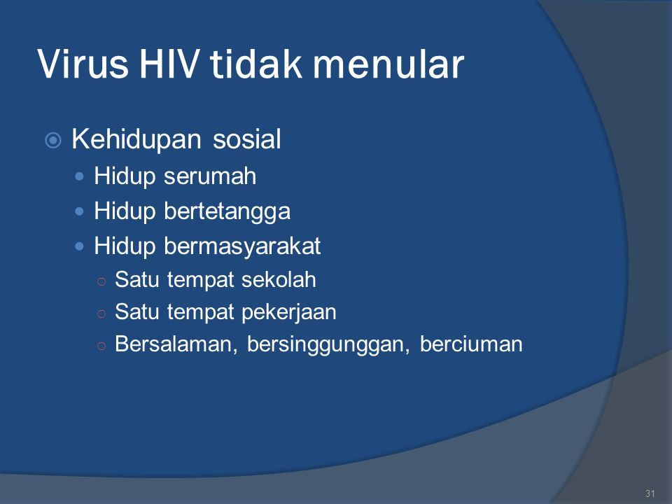 Virus HIV tidak menular