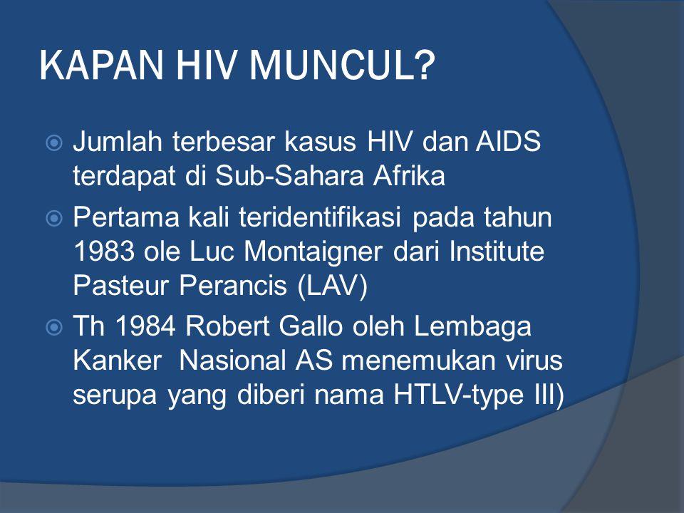 KAPAN HIV MUNCUL Jumlah terbesar kasus HIV dan AIDS terdapat di Sub-Sahara Afrika.