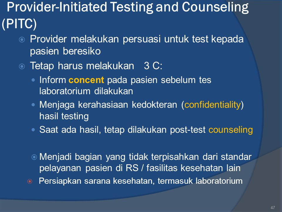 Provider-Initiated Testing and Counseling (PITC)