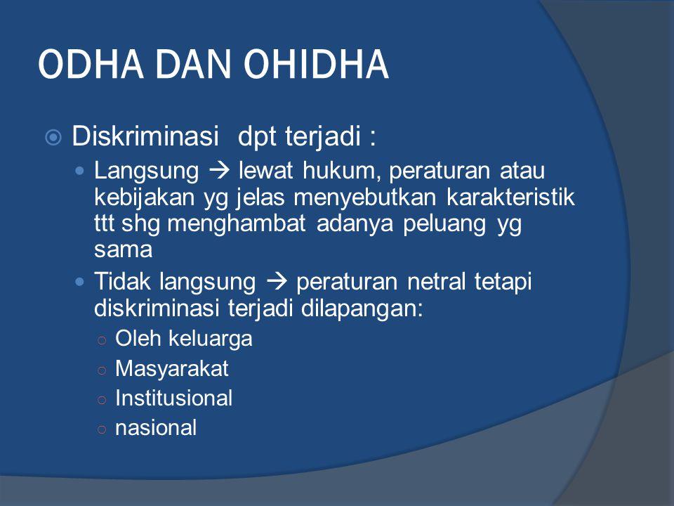 ODHA DAN OHIDHA Diskriminasi dpt terjadi :
