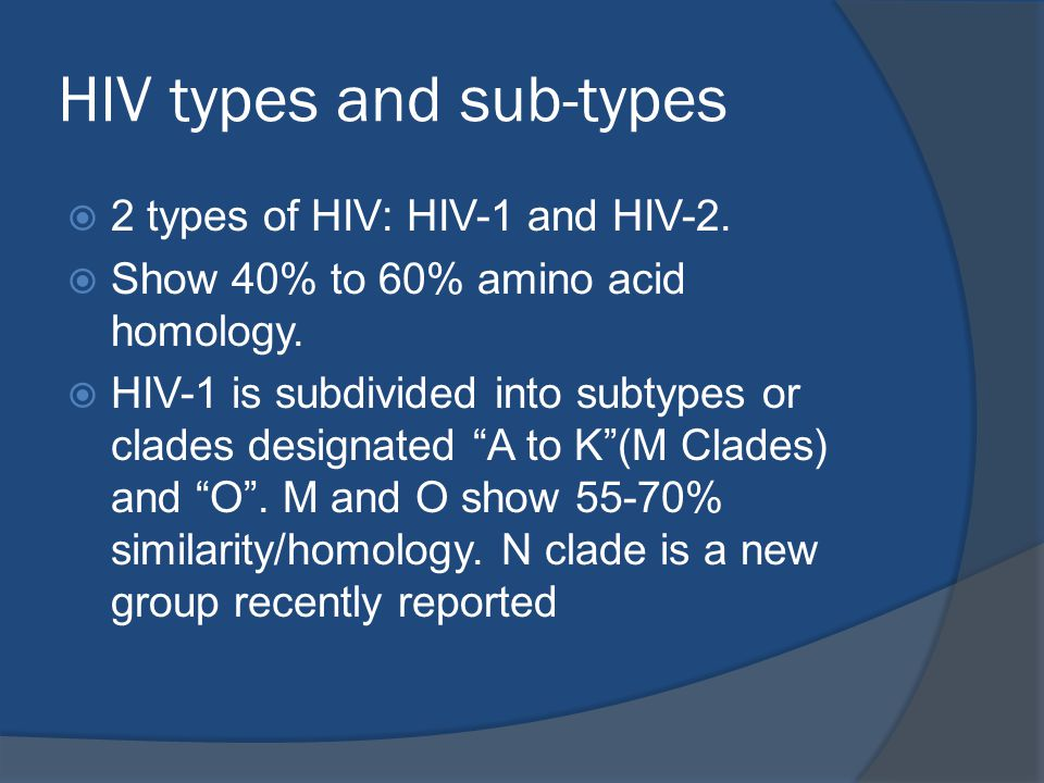HIV types and sub-types