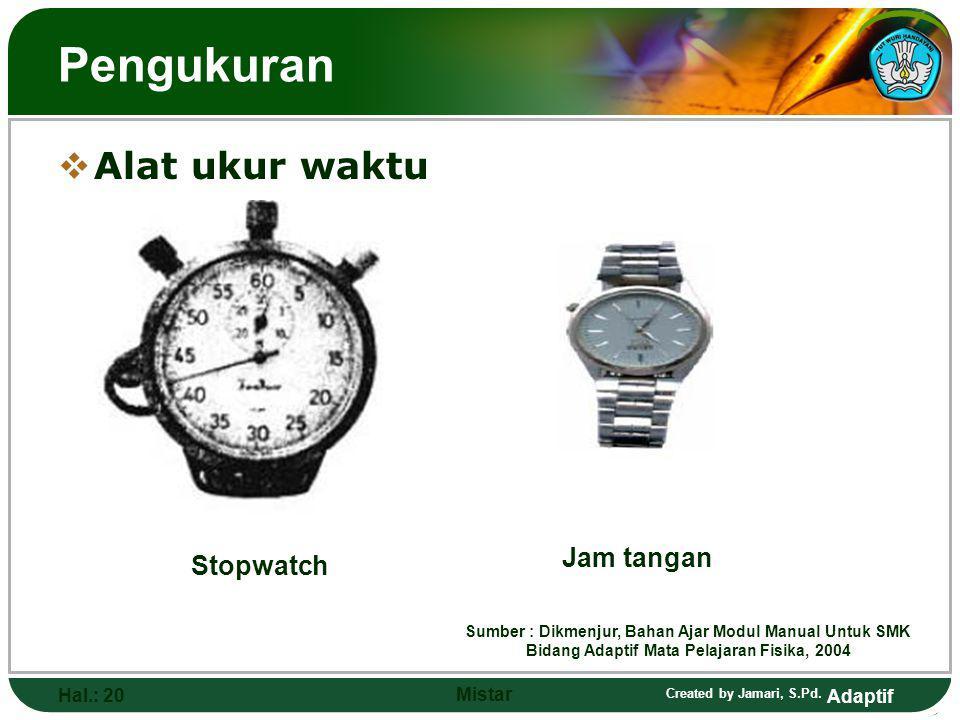 Pengukuran Alat ukur waktu Jam tangan Stopwatch Hal.: 20 Mistar