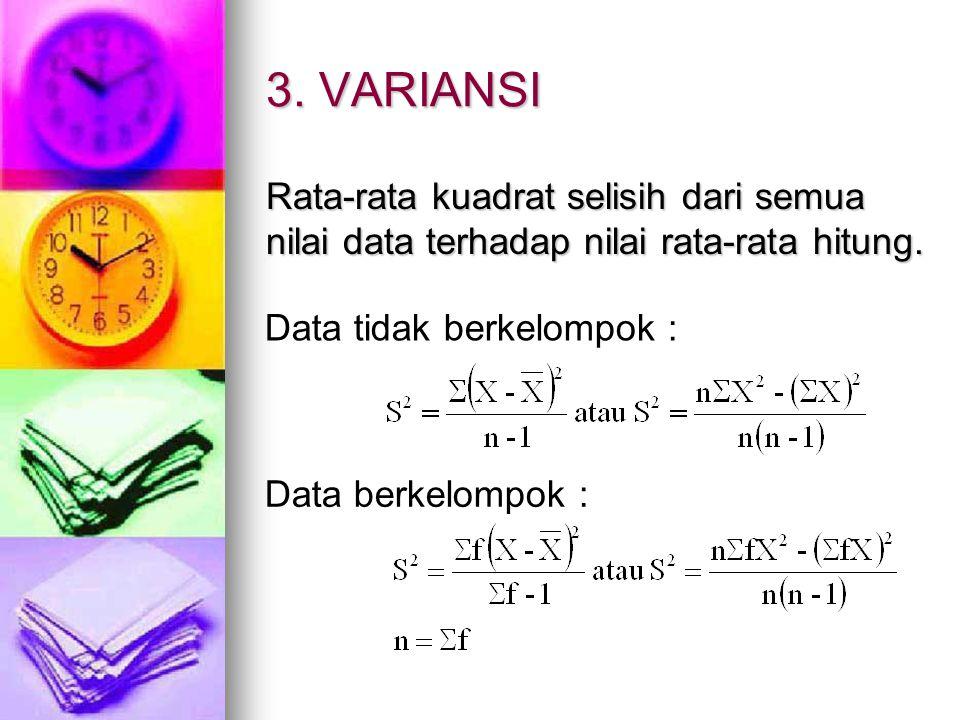 3. VARIANSI Rata-rata kuadrat selisih dari semua nilai data terhadap nilai rata-rata hitung. Data tidak berkelompok :