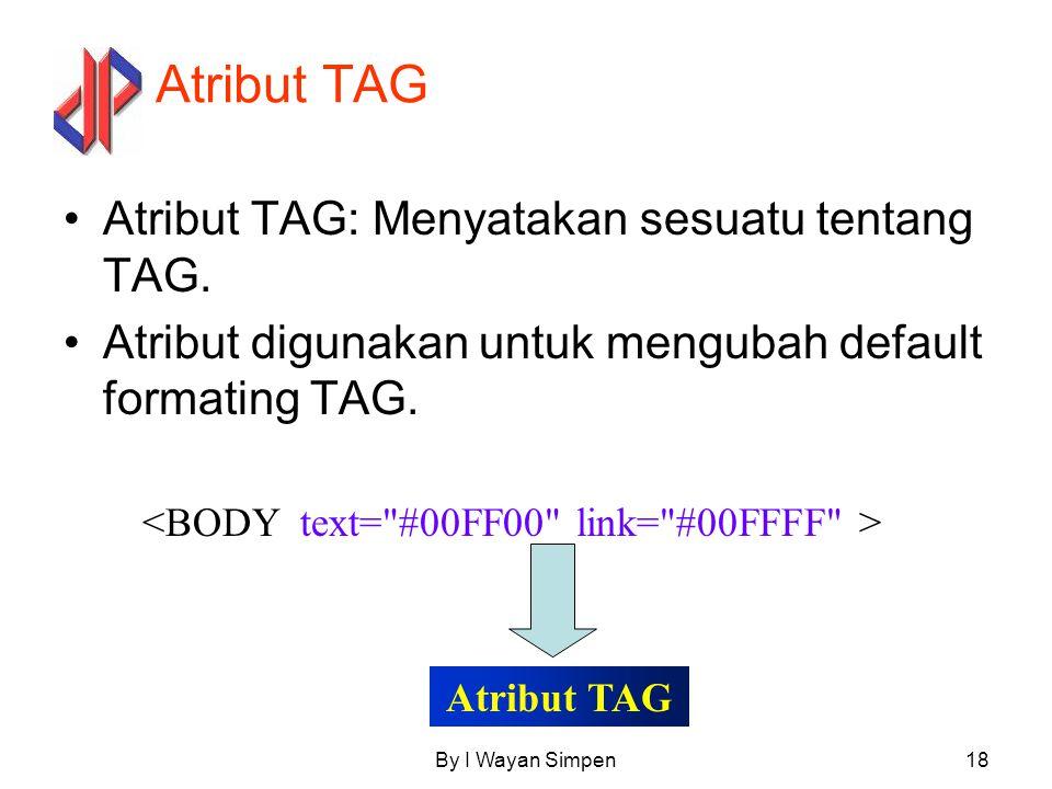 Atribut TAG Atribut TAG: Menyatakan sesuatu tentang TAG.