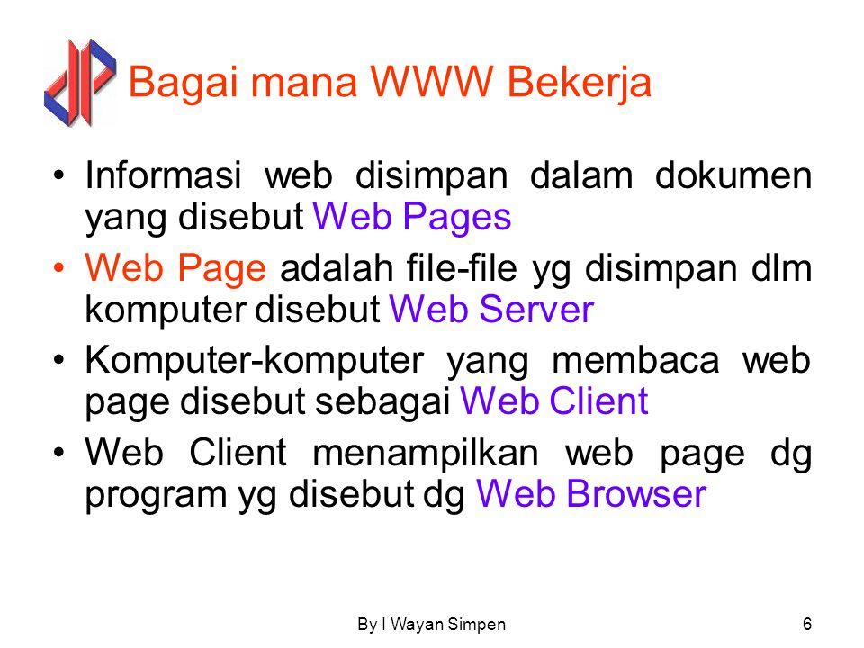 Bagai mana WWW Bekerja Informasi web disimpan dalam dokumen yang disebut Web Pages.