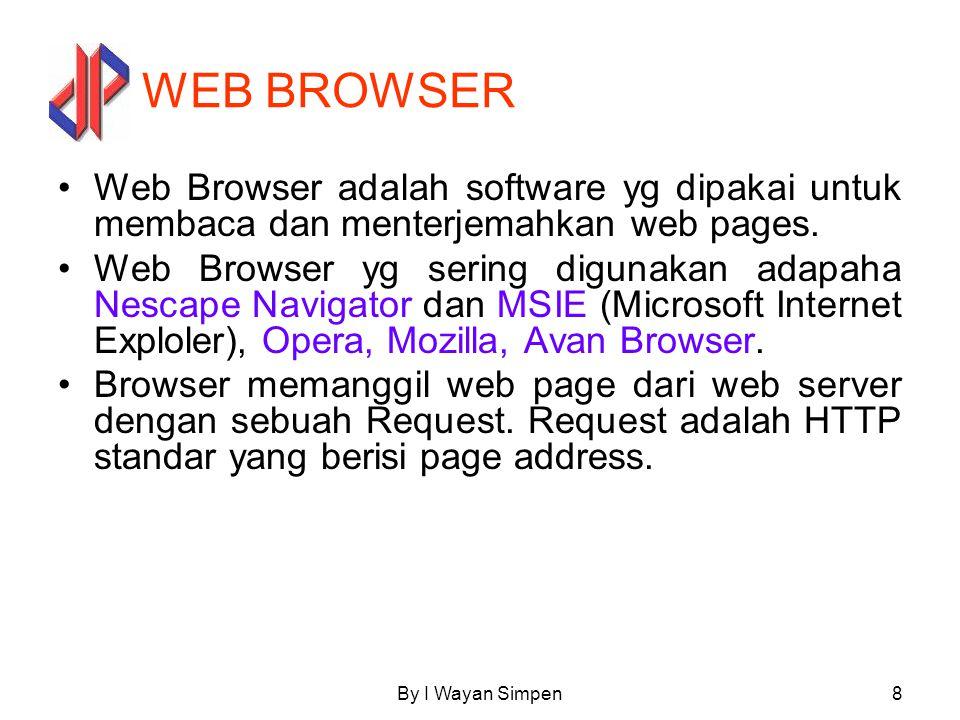 WEB BROWSER Web Browser adalah software yg dipakai untuk membaca dan menterjemahkan web pages.