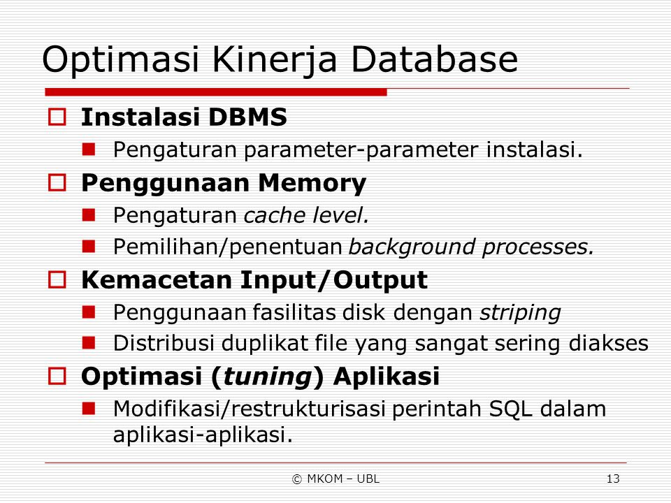 Optimasi Kinerja Database