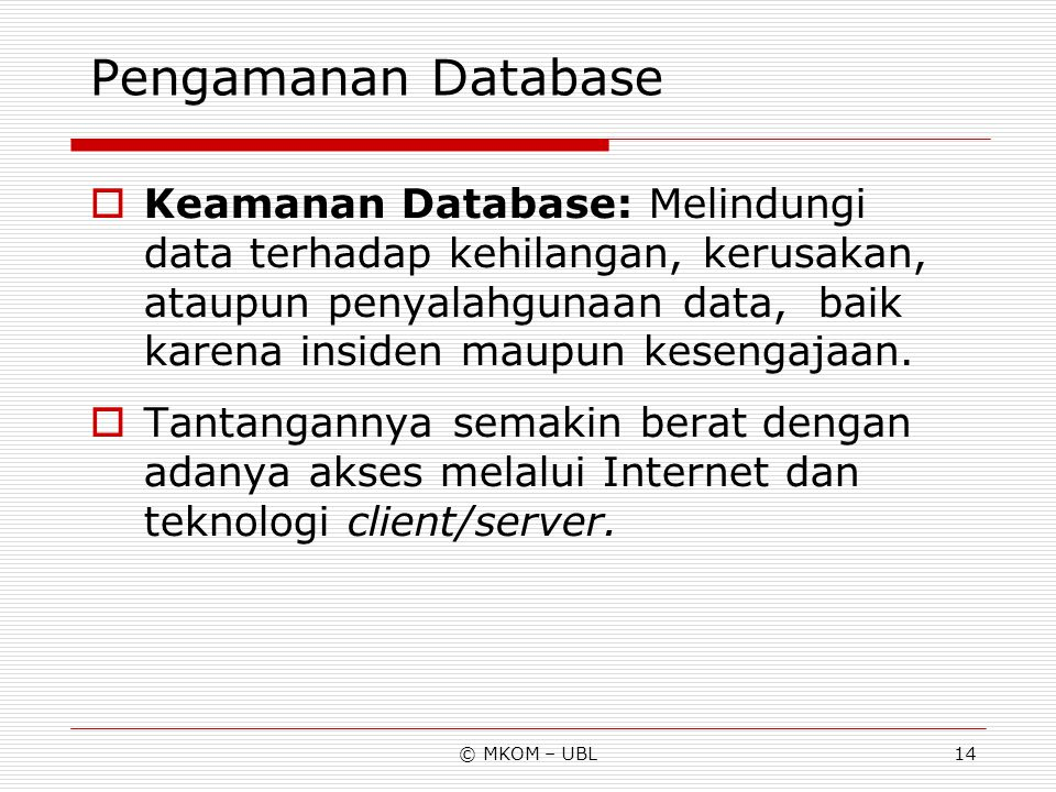 Pengamanan Database
