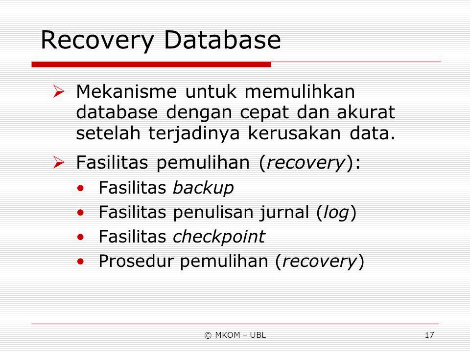 Recovery Database Mekanisme untuk memulihkan database dengan cepat dan akurat setelah terjadinya kerusakan data.