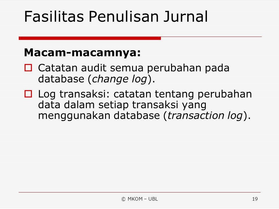 Fasilitas Penulisan Jurnal
