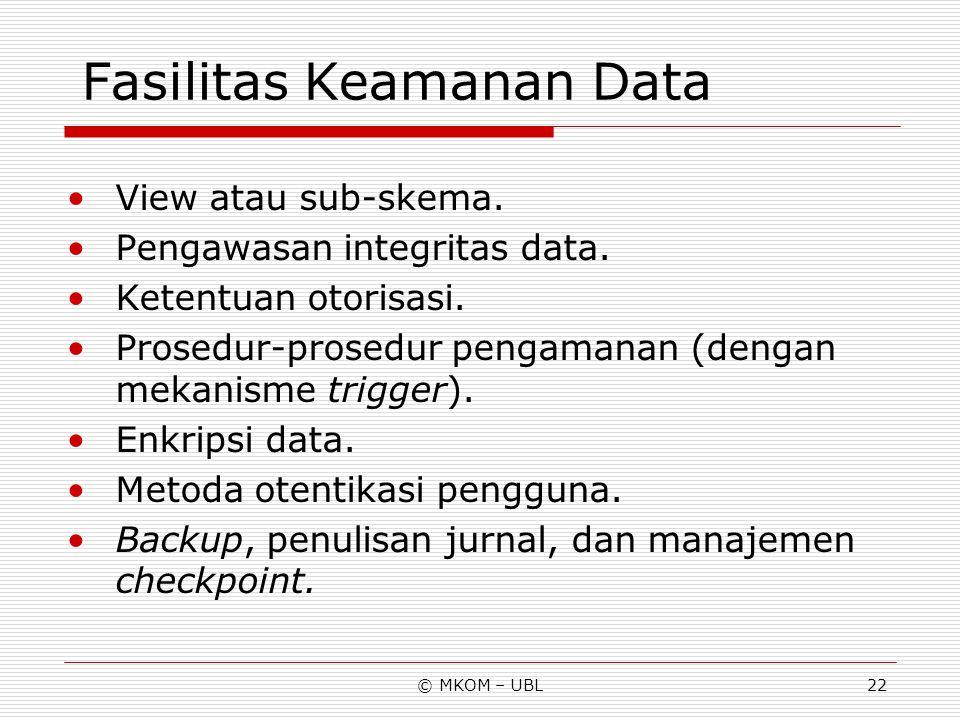Fasilitas Keamanan Data