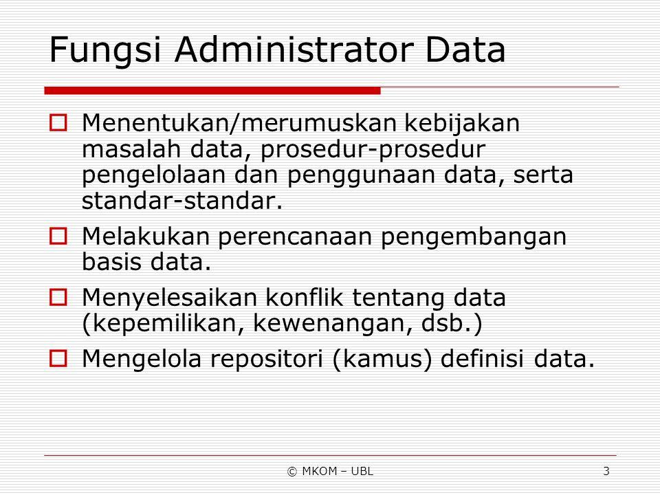 Fungsi Administrator Data