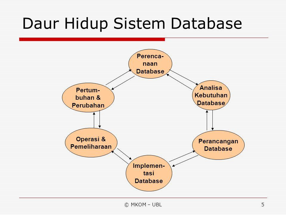Daur Hidup Sistem Database
