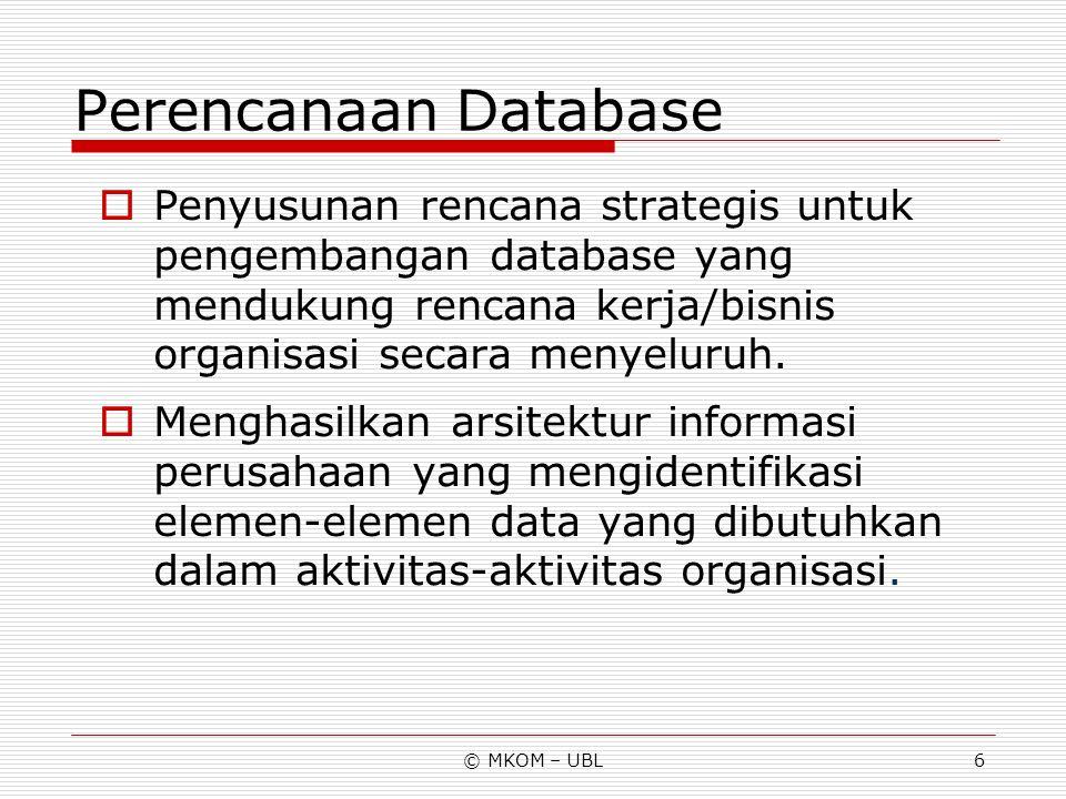 Perencanaan Database Penyusunan rencana strategis untuk pengembangan database yang mendukung rencana kerja/bisnis organisasi secara menyeluruh.