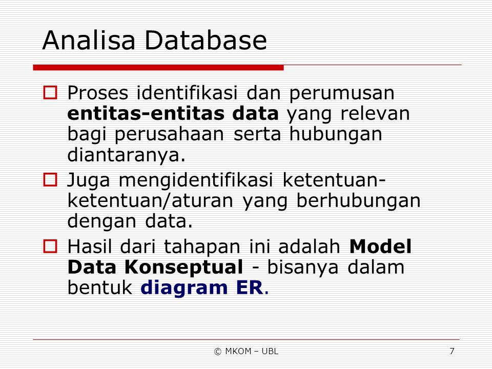 Analisa Database Proses identifikasi dan perumusan entitas-entitas data yang relevan bagi perusahaan serta hubungan diantaranya.