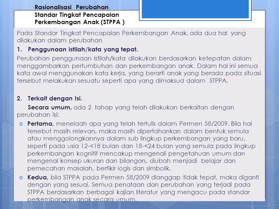 Rasionalisasi Perubahan Standar Tingkat Pencapaian Perkembangan Anak (STPPA )