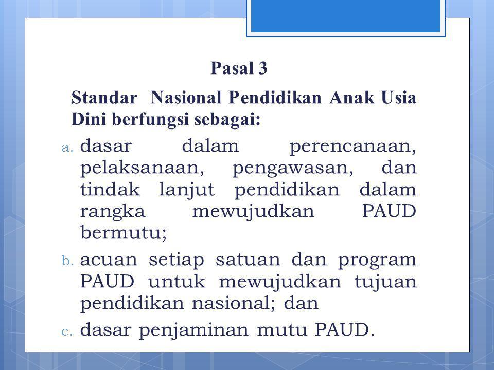 Pasal 3 Standar Nasional Pendidikan Anak Usia Dini berfungsi sebagai: