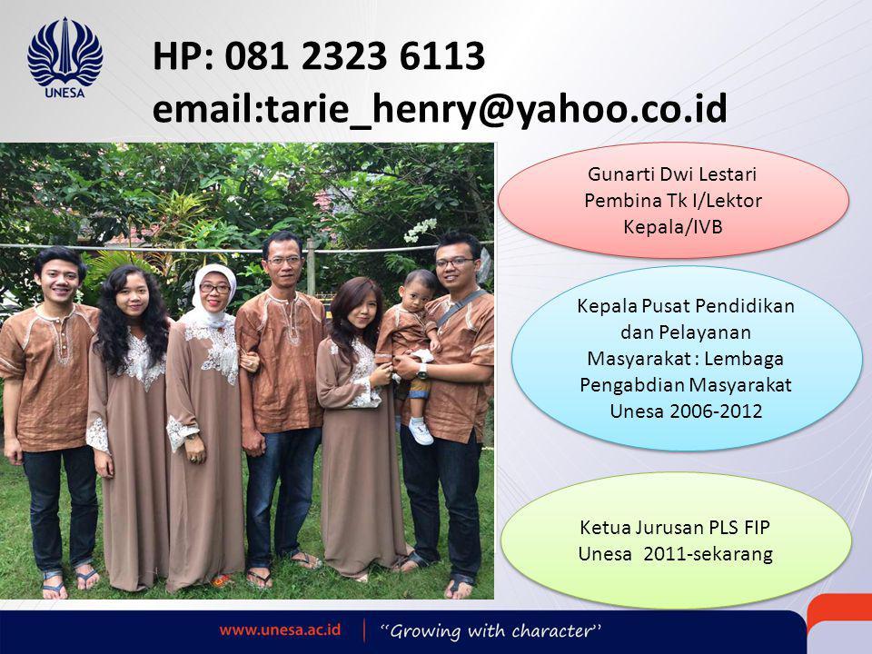 HP: 081 2323 6113 email:tarie_henry@yahoo.co.id Gunarti Dwi Lestari. Pembina Tk I/Lektor Kepala/IVB.