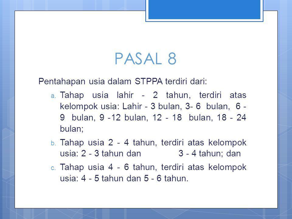 PASAL 8 Pentahapan usia dalam STPPA terdiri dari: