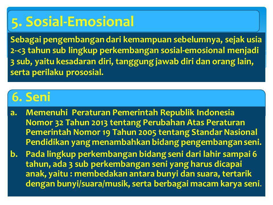 5. Sosial-Emosional 6. Seni